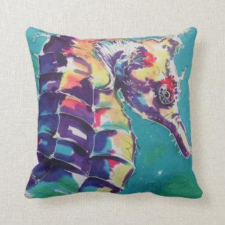 Pintura de seda del caballo de mar almohada