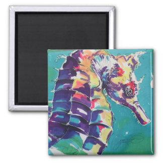 Pintura de seda del caballo de mar imán cuadrado