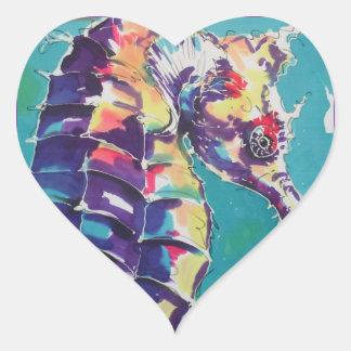 Pintura de seda del caballo de mar pegatina en forma de corazón