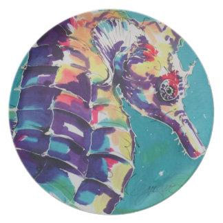 Pintura de seda del caballo de mar plato de cena