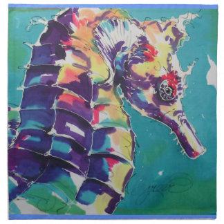 Pintura de seda del caballo de mar servilleta de papel