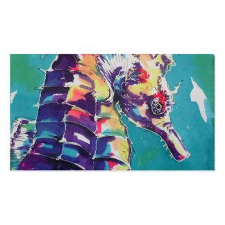 Pintura de seda del caballo de mar tarjetas de visita