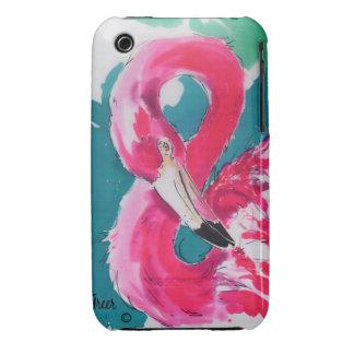 Pintura de seda del flamenco iPhone 3 Case-Mate cobertura