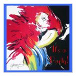 Pintura de seda del loro del Macaw del escarlata Invitaciones Personales
