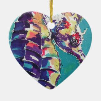 Pintura de seda del Seahorse brillante Adorno Navideño De Cerámica En Forma De Corazón