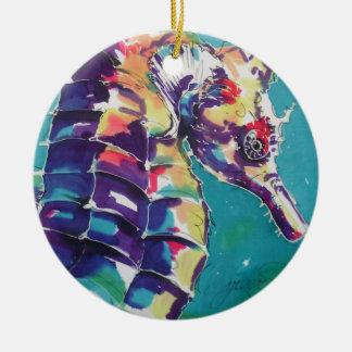 Pintura de seda del Seahorse brillante Adorno Navideño Redondo De Cerámica