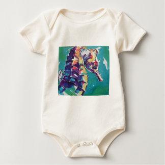 Pintura de seda del Seahorse brillante Mamelucos De Bebé