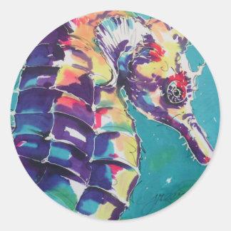 Pintura de seda del Seahorse brillante Pegatina Redonda