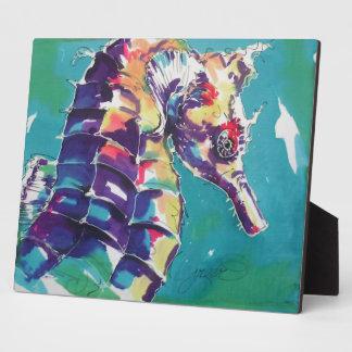 Pintura de seda del Seahorse brillante Placa Para Mostrar