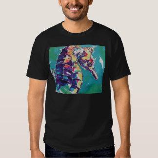 Pintura de seda del Seahorse brillante Playeras