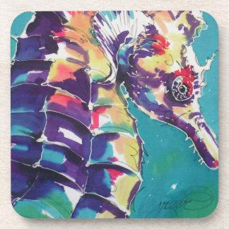 Pintura de seda del Seahorse brillante Posavasos De Bebida
