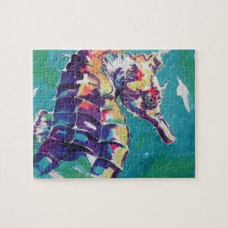 Pintura de seda del Seahorse brillante Rompecabeza