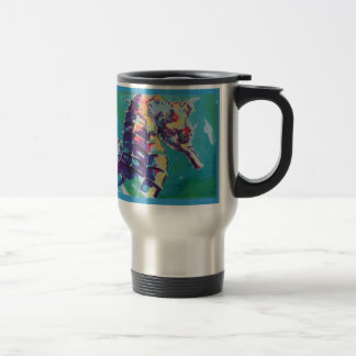 Pintura de seda del Seahorse brillante Taza De Viaje De Acero Inoxidable