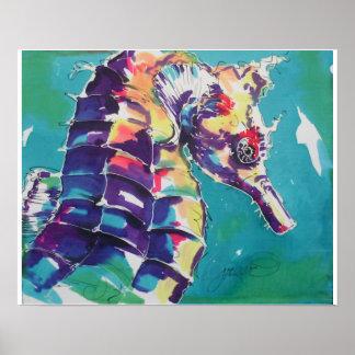Pintura de seda del Seahorse Póster