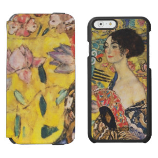 Pintura de señora With Fan Art Nouveau de Gustavo Funda Billetera Para iPhone 6 Watson