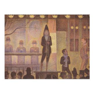 Pintura de Seurat - el desfile del circo Tarjetas Postales