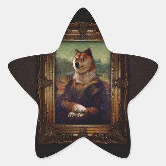 Pintura de Shibe Meme de la bella arte de Mona Pegatina En Forma De Estrella