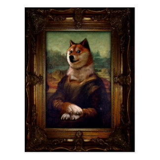 Pintura de Shibe Meme de la bella arte de Mona Postal
