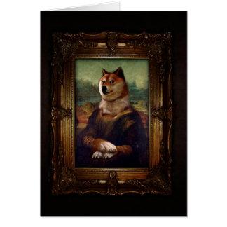 Pintura de Shibe Meme de la bella arte de Mona Tarjeta Pequeña