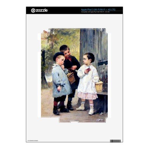 Pintura de tres niños iPad 3 pegatina skin