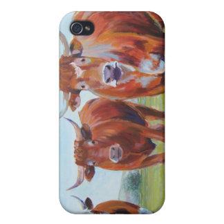 Pintura de tres toros iPhone 4 fundas