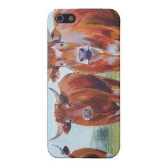 Pintura de tres toros iPhone 5 fundas