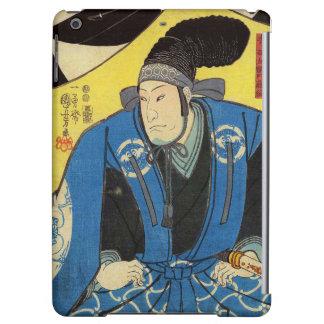 Pintura de Ukiyo-e de un samurai en fondo amarillo