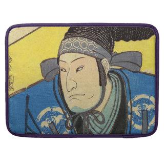 Pintura de Ukiyo-e de un samurai en fondo amarillo Funda Macbook Pro