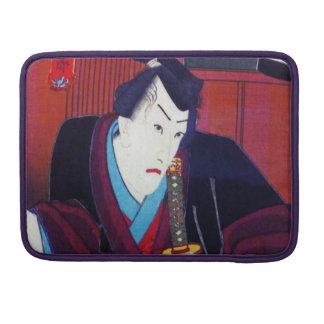 Pintura de Ukiyo-e de un samurai que lleva el Fundas Macbook Pro