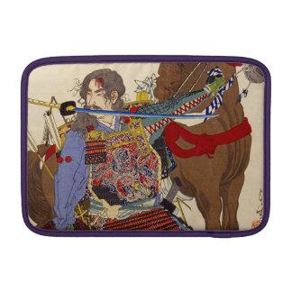 Pintura de Ukiyo-e de un samurai que muerde una Fundas Macbook Air