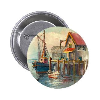Pintura de un barco atado a un muelle pin redondo 5 cm