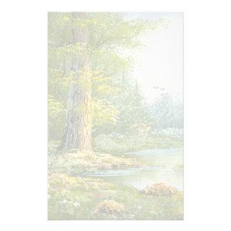 Pintura de un bosque con el río papeleria de diseño