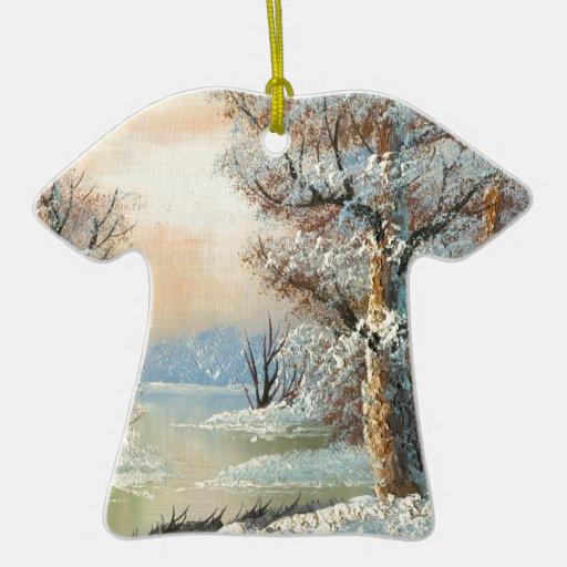 Pintura de un bosque y de un río del invierno adorno