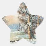 Pintura de un bosque y de un río del invierno calcomanía forma de estrella personalizada