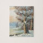 Pintura de un bosque y de un río del invierno puzzles con fotos