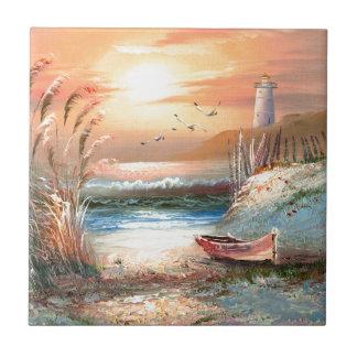 Pintura de un bote de remos varado cerca de un far azulejo cuadrado pequeño