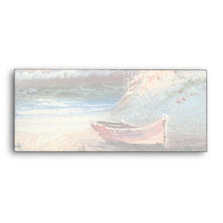 Pintura de un bote de remos varado cerca de un far sobre