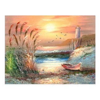 Pintura de un bote de remos varado cerca de un postales