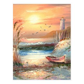 Pintura de un bote de remos varado cerca de un tarjeta postal