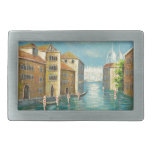Pintura de un canal de la ciudad hebillas de cinturón rectangulares