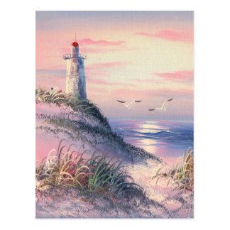Pintura de un faro en el amanecer tarjetas postales