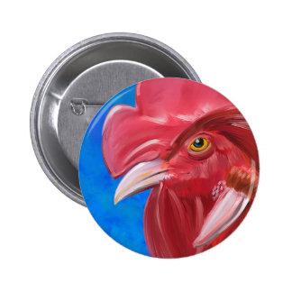 Pintura de un gallo rojo en colores vibrantes pin redondo de 2 pulgadas