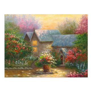 Pintura de un hogar florecido del país postal