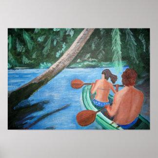 Pintura de un par en una canoa póster