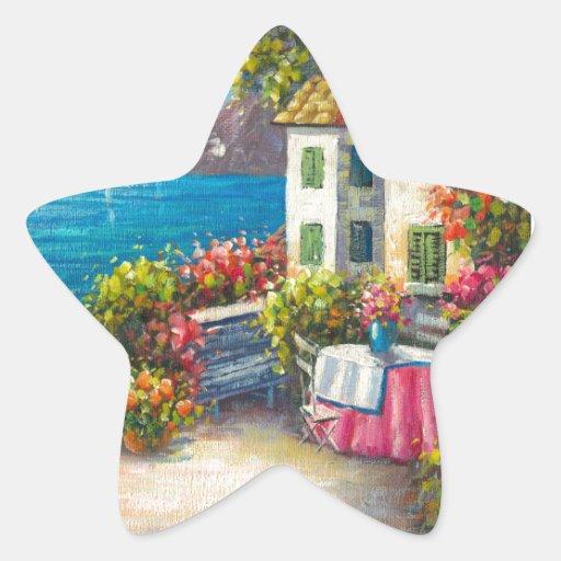Pintura de un patio europeo de la playa pegatina en forma de estrella