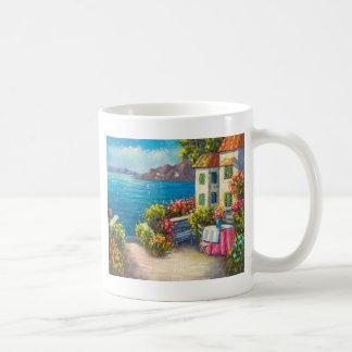 Pintura de un patio europeo de la playa taza clásica