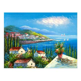 Pintura de un pueblo de playa mediterráneo postal
