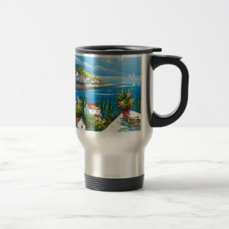 Pintura de un pueblo de playa mediterráneo tazas de café