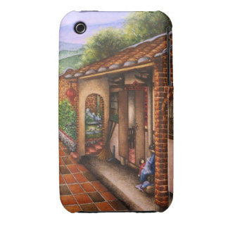 Pintura de un pueblo del chino tradicional iPhone 3 carcasas
