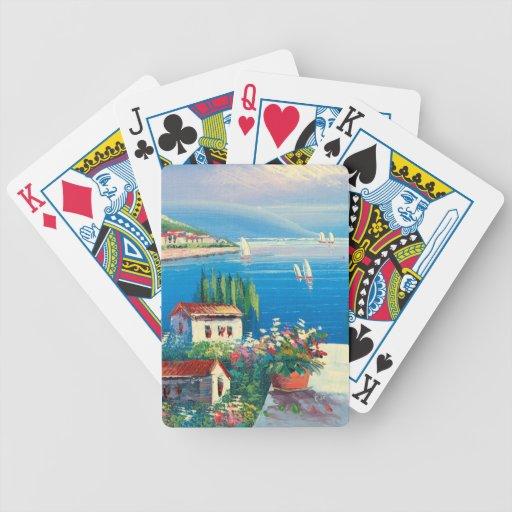 Pintura de un pueblo italiano barajas de cartas